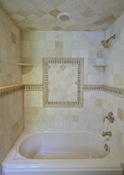 Bathroom with Natural Stone Tile