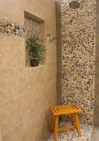 Shower Tile with River Rock Pebbles