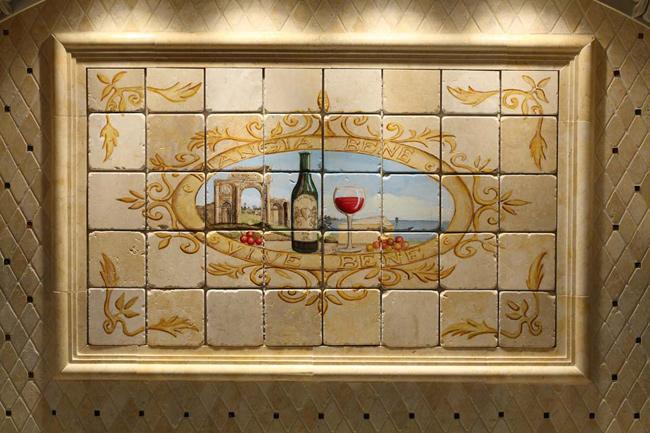 Handpainted Mural With Limestone Gl Field Kb004 Fuda Tile S Kitchen Gallery